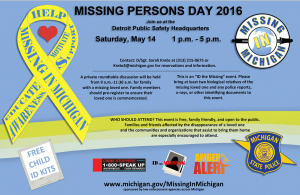 Missing in michigan Event at Detroit PD